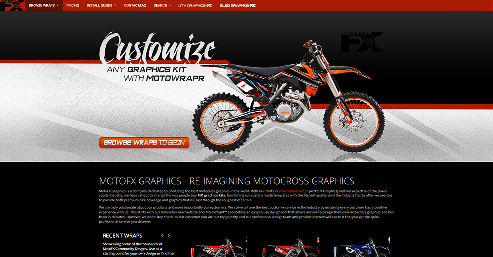 arcticfx graphics launches new website for dirt bike graphics kits